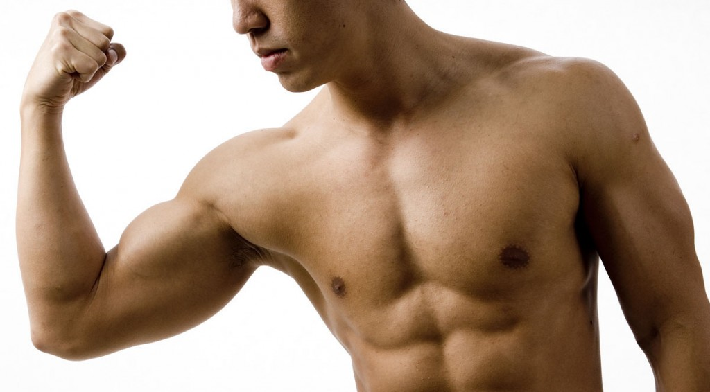 man with muscular arm